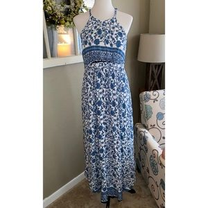Lulus Floral Maxi Blue White Open Back Boho dress